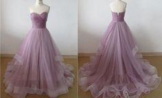 Elegant Tulle Sweetheart Long Prom Dress,Off the shoulder prom dress,A-Line dress,
