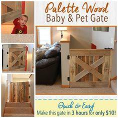 DIY Wood Pallet Baby & Pet Gate Diy Wood Pallet, Diy Pallet Sofa, Wooden Pallets, Pallet Furniture, Pallet Ideas, Diy Pallet Kitchen Ideas, Unique Furniture, Furniture Ideas, Funky Junk Interiors