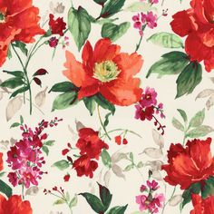 Bold Green & Red Floral Fabric | Fresh Cut Flame | Loom Decor