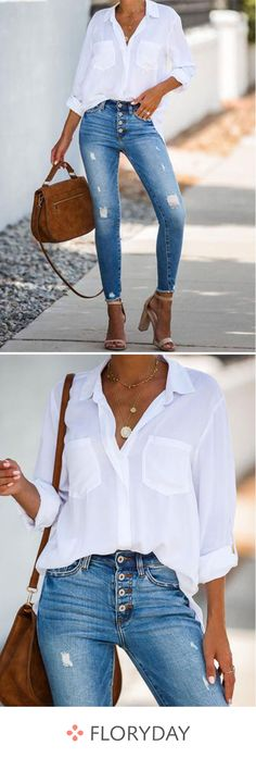 Solid Casual Collar Sleeves Blouses - Solid casual collar sleeves blouses, casual tops, women's fashion, basics. Source by anni_pie - Cute Fashion, Denim Fashion, Look Fashion, Korean Fashion, Fashion Outfits, Womens Fashion, Fashion Trends, Fashion Basics, 2000s Fashion