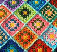 granny square afghan crochet blanket patchwork by turtlemurtle, $175.00
