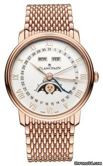 Blancpain Villeret Moonphase & Complete Calendar 40mm $36,900 #Blancpain #watch #watches #luxury #chronograph rose gold case with rose gold bracelet and automatic movement