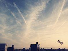 夕方の空。。。飛行機雲いっぱい!!