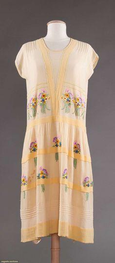 Dress, cotton voile w embroidery, Ethel Matthews label, 1920s