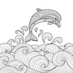 Dolphin Coloring Pages for Adults Dolphin Coloring Pages, Animal Coloring Pages, Coloring Book Pages, Dibujos Zentangle Art, Zentangle Drawings, Quilling Patterns, Zentangle Patterns, Art Drawings Sketches Simple, Easy Drawings