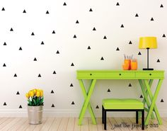 Triangle Wall Decal Set - Triangle Decor Decals Wall Decor - Modern Triangle Wall Decal - Triangle Vinyl Decal - Triangle Wall Sticker by JustTheFrosting on Etsy https://www.etsy.com/listing/221053277/triangle-wall-decal-set-triangle-decor