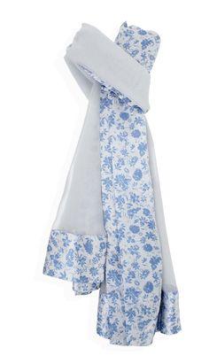 c888c8ae9c Sciarpa Artigianale SETA BORDO FIORI Azzurro/Azzurro Foulard 100% seta di  colore Azzurro/