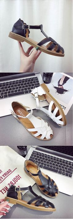 4b0141e036d6fe Hollow Out Buckle Flat T-Strap Casual Sandals For Women Comfy Shoes