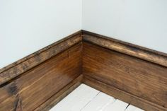 Family room- thick baseboards 1 x 6 pine for the meat of the baseboard, base cap on the top of the wide pine, and colonial stop to cover the gap between the baseboard and the floor. Wood Baseboard, Baseboard Styles, Baseboard Ideas, Dark Baseboards, Farmhouse Trim, Farmhouse Ideas, Stained Trim, Pine Trim, Floor Trim