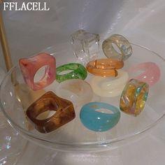 Funky Jewelry, Cute Jewelry, Jewelry Rings, Jewelry Accessories, Women Jewelry, Resin Jewlery, Hippie Jewelry, Trendy Jewelry, Fimo Ring