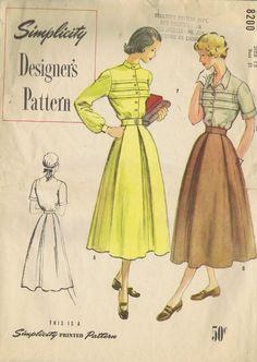 "VINTAGE BLOUSE SKIRT 1940s SEWING PATTERN 8200 SIMPLICITY BUST 31 HIP 34"" UNCUT | eBay"