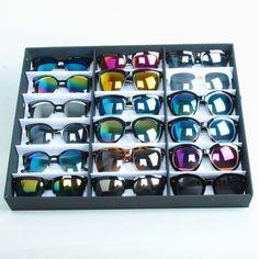 Spedizione gratuita portatile orizzontale occhiali da sole 18 paia display vassoio scaffale scatola di immagazzinaggio contenitore di vetro cadente di trasporto all'ingrosso