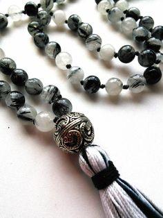 Tourmalated Quartz Mala - Hand-knotted Mala Meditation Beads, Yoga Jewelry
