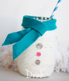 Snowman Jar .. Yarn, buttons and felt on jar