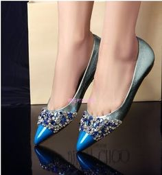 Blue ombre leather flat with crystal decor. Blue Wedding Shoes, Crystal Decor, Blue Ombre, Pumps, Heels, Leather Flats, Blue Shoes, Crystals, Fashion