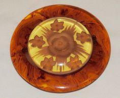 Bakelite Circle Brooch Rootbeer Apple Juice Vintage Book Piece Embedded Flowers #Unbranded