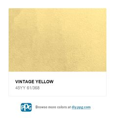 Explore paint color Vintage Yellow by PPG Timeless Paint, available at The Home Depot.For a warm and friendly atmosphere, use this optimistic yellow in a kitchen. Surround your room with white cabinetry and contrasting countertops. Ivory Paint Color, Paint Colors, Mexican Colors, Bathroom Colors, Serene Bathroom, Yellow Painting, Trim Color, Beautiful Lights, Vintage Yellow