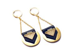 ••• « Qin » leather and gold plated earrings, handmade in Paris ••• • Lambskin leather : navy and gold • Metal finishes : gold plated brass 24 carats •