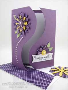 Beautiful curvy line on this handmade Easter card featuring the gateway fold.  The purple color is perfect with green and yellow flower accents, along with some white pearls.  Follow the video tutorial and use the provided template!