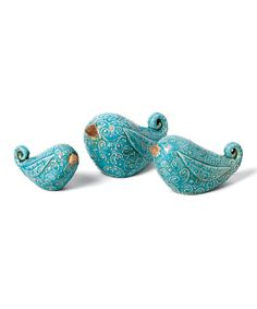 Take a look at this Turquoise Ceramic Garden Bird Figurine Set by Foreside on #zulily today!