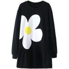 Black Daisy Print Flounce Hem Long Sleeve Dress (385 GTQ) ❤ liked on Polyvore featuring dresses, black cotton dress, ruffle hem dress, daisy-print dress, long dresses and flounce hem dress