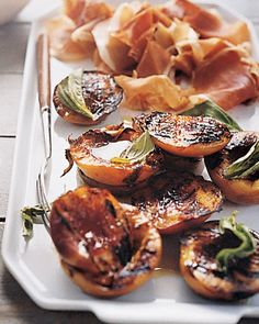 Grilled peaches with prosciutto--love grilled fruit in the summer. Grilled Fruit, Grilled Peaches, Prosciutto Recipes, Healthy Grilling Recipes, Grilling Ideas, Cooking Recipes, Cookout Food, Basil Recipes, Seasonal Food