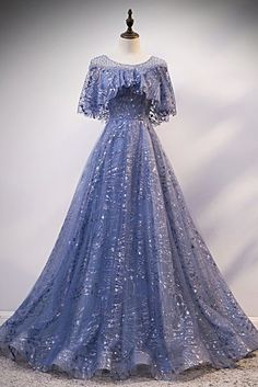 Blue Sequins Tulle Hole Back Long Cap Sleeve Prom Dress, Formal Dress Prom Dresses With Sleeves, Prom Dresses Blue, Ball Dresses, Pretty Dresses, Beautiful Dresses, Blue Dress With Sleeves, Sleeve Dresses, Cheap Formal Dresses, Cheap Evening Dresses