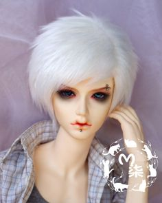 BJD Doll 1//3 8-9 Wig Short Afro Hair Fabric Fur Wig for Boy Girl Light Yellow