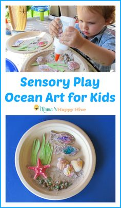 Have fun creating sensory play ocean art for kids this summer! - www.mamashappyhive.com