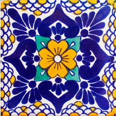 Bring the southwestern feel to your kitchen or bathroom with these with vibrant blue Mexican tiles for sale at La Fuente! Shop all of our options of blue talavera tile today! Tile Art, Mosaic Tiles, Painted Rocks, Hand Painted, Tiles For Sale, Talavera Pottery, Mexican Art, Mexican Tiles, Morris