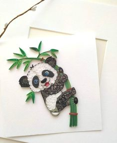 Quilling Panda bear bamboo tree decor, Nursery Panda bear gift, Cute animal wall art, Kids quilled decoration, Quilliing art for babies Paper Quilling Patterns, Quilled Paper Art, Quilling Craft, Quilling Designs, Quilling Ideas, 3d Paper, Paper Wall Art, Paper Artwork, Panda Decorations