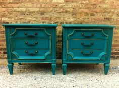 Vintage End Tables In a Perfect Teal. 250 dollars, via Etsy. - for bedside
