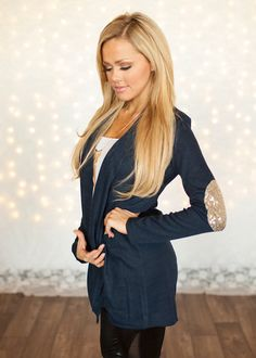 Open Cardigan with Sequins Elbow Patches Navy - Modern Vintage Boutique