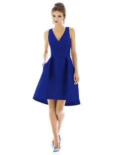 This is the one!  I think I'll make a contrasting belt rather than go with the same-color one it comes with. hi-lo hemline in Royal dupioni