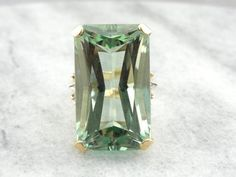 Museum Quality Incredibly RARE 49.66ct Green Beryl in Retro Era from marketsquarejewelers on Ruby Lane
