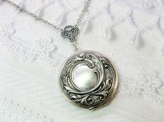 Silver Locket Necklace  Silver Victorian Romance by birdzNbeez