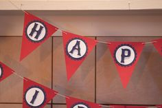 Happy Birthday banner for one year vintage baseball celebration. Red, Navy blue, cream.
