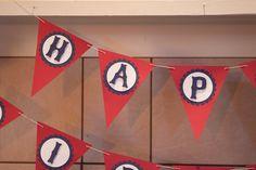 Happy Birthday banner for one year vintage baseball celebration. Red, Navy blue, cream.