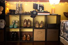 """These cube shelves hold part of my shoe collection,"" said fashion blogger Kristen Lam."
