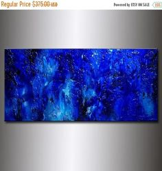 Original Textured BLUE Abstract Painting Contemporary Modern