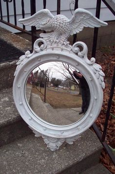 Eagle Mirror Large Syroco  federal wall by UpcycledCottageDecor