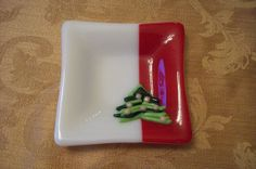 Red and White Abstract Christmas Tree Fused Glass by FusingFrenzy, $20.00