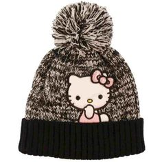 f64cc7ae3ac Hello Kitty Girls Black  amp  White Kitty Cat Beanie Stocking Cap Winter Hat