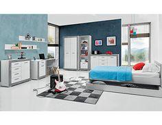 Studentský pokoj Twin 1 Korpusy nábytku jsou z lamina o síle 16 mm, čela dvířek a zásuvek v bílém provedení jsou vyrobeny z MDF o síle 16 mm a potažené PVC folií. Dvířka i zásuvky … Baby Room, Loft, Bed, Furniture, Google, Home Decor, Decoration Home, Stream Bed, Room Decor