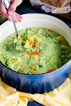 Broccoli Potato Cheese Soup - Cheesy broccoli soup recipe has broccoli flowerets, potatoes, sharp cheddar cheese and vegetables for a comforting bowl of yum Broccoli And Carrot Soup, Cheddar Broccoli Potato Soup, Potato Cheese Soups, Broccoli Soup Recipes, Broccoli And Cheese, Cheddar Cheese, Fresh Broccoli, Chicken Wild Rice Soup, Chicken Mushroom Recipes