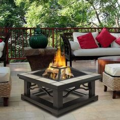 Outdoor Wood Burning Fireplace, Wood Burning Fire Pit, Fire Pit Furniture, Outdoor Furniture Sets, Outdoor Decor, Outdoor Fire, Outdoor Living, Diy Fire Pit, Fire Pits