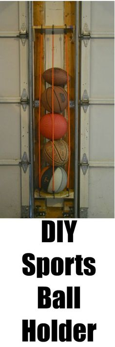 Organize your garage by using the space between your garage doors to make a DIY sports ball holder.