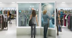 """(by frog)   The Virtual Personal Shopper  Intel continues to imagine the future of retail with this in-store touch-screen that creates an in-store augmented reality, helps consumers """"try on"""" clothes, and suggests complementary colors and cuts."""
