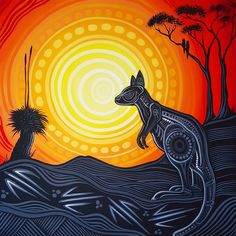 Indigenous Australian Art, Indigenous Art, Kangaroo Illustration, Illustration Art, Aboriginal Tattoo, Aboriginal Art Animals, Australian Aboriginals, Bear Paintings, Aboriginal Culture