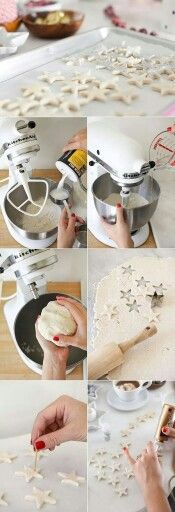 Salt Dough Ornaments: 2 cups all purpose flour + 1/2 cup salt + 3/4 tp 1 cup water. Bake for 30 minutes at 300°